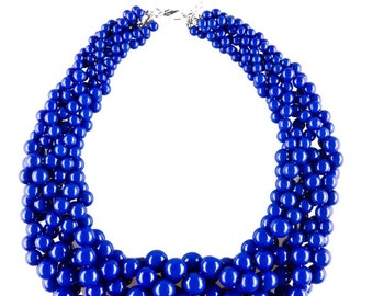 Blue Beaded Chunky Statement Necklace with Multiple Bead Strings
