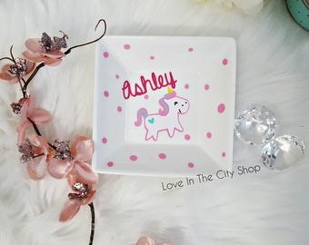 Unicorn Ring Dish, Unicorn Ring Holder, Unicorn Gift, Custom Ring Dish, Personalised Ring Dish, Name Ring Holder, Jewelry Dish, Polka Dots