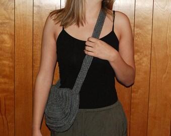 Gray Crochet Crossbody Purse