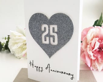 25 Year Anniversary Card, Silver Wedding Anniversary, 25th Anniversary Gift for Parents, Anniversary Gift for Couple, Wife Gift for Husband