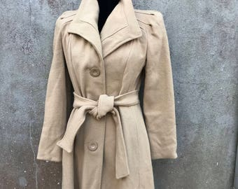 Vintage Full Length Belted Fully Lined Coat Brown With Union Label