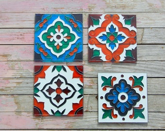 Talavera glass coasters Mexican tile patterns Hand painted coasters Housewarming gift Present for her Mexican style coaster