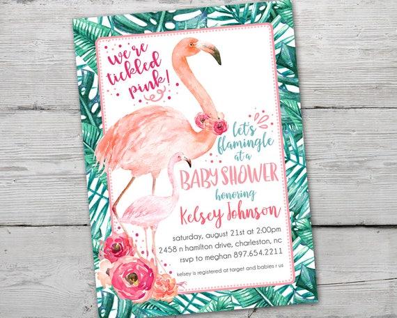 Flamingo Baby Shower Invitation, Tropical Baby Shower Invitation,  Printable, Flamingo Baby Shower Invitation, Letu0027s Flamingle Invitation