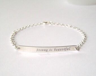 Personalized Gold Bar bracelet, Silver Bar Bracelet, Custom Name Bracelet, Initial Bracelet, Monogram Bracelet, Bridesmaids Gift