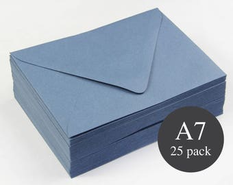 25 - A7 Blue Matte Euro Flap Envelopes - 5 1/4 x 7 1/4  - Marina