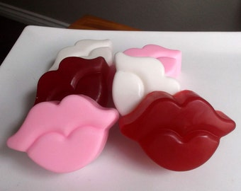 Kiss Soap, Lips Soap, Valentine Soap, Kisses, Valentines Day, Soap - 3 Piece