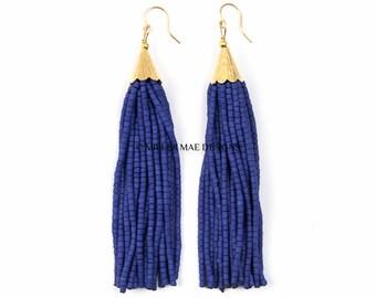 Tassel Earrings | Royal Blue Tassel Earrings | Cobalt Seed Bead Tassel Earrings | Long Tassel Earrings | Bohemian Statement Earrings