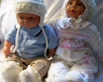 Infant Fisherman Pixie Ear Flap Hat and Bootie Set to Crochet Pattern pdf 266