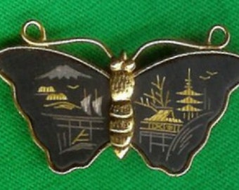 """Rare Collectible 1960's Vintage """"Amita Damascene"""" Black Butterfly with Asian Motif Brooch/Pin-As New"""