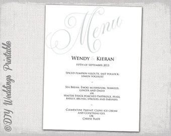 "Wedding menu template silver gray poster wedding menu DIY wedding menu ""Parfumerie"" grey digital printable menu template - instant download"