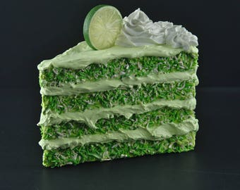 Jumbo Fake Cake Slice Faux Decorative Cake Fake Food Prop Display Coconut Lime Cake