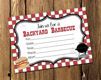 Printable Backyard Barbecue Fill In Invitation - Instant Download
