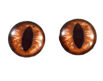 16mm Amber Cat or Dragon Glass Eye Cabochons - Evil Eyes for Doll or Jewelry Making - Set of 2