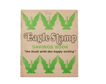 FREE SHIPPING: Vintage Eagle Stamp Savings Book - Full Green Stamps Booklet with Retro Graphics
