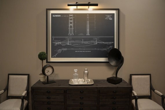 Golden gate bridge blueprint vintage san francisco golden malvernweather Choice Image