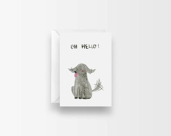 Cute Dog Card / Oh Hello Puppy Card / Casual Hello Card / Cute Animal Card / For Fiends / Missing You Card / Watercolor Illustration Card