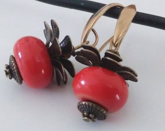 Earrings: hanging fruit - Lampwork Glass Beads
