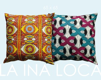 Casual ethno pillow with original African Waxprintstoff