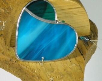 Small Blue Stained glass Heart Suncatcher & Window ornament