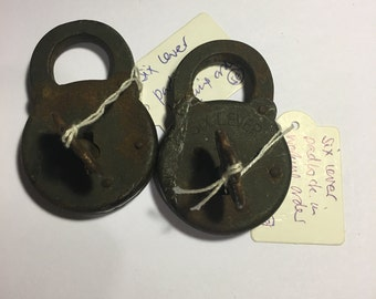 Choice of two - six lever antique vintage padlock
