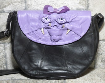 Cross Body Adjustable Purse With Face Monster Black Leather Harry Potter Labyrinth Unique Gift 452