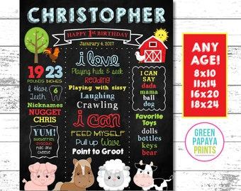 Farm First Birthday Sign, Farm Chalkboard, Farm Birthday Poster, Farm Milestone Birthday Sign, Farm Birthday Decor, Printable Digital File