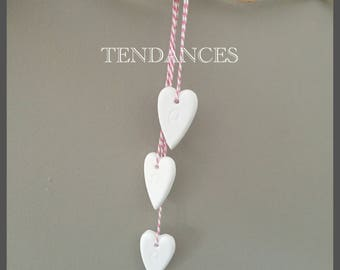 Triptych ceramic heart and pink white string