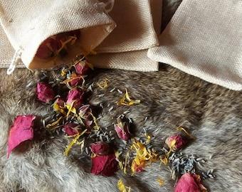 pagan wedding handfasting confetti wedding favours burlap bags real flower petal wicca 20