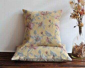 Pale Yellow Floral Pillow Cover - Tapestry Fabric Pillow - Decorative Pillows, Accent Pillows, Throw Pillow Covers - Pale Yellow Pillow