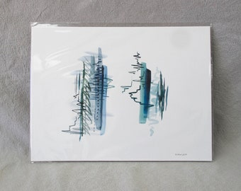 ORIGINAL abstract gouache painting in green and blue, 8x10 inch gallery wall art with trees and stripes, Scandinavian home and office decor