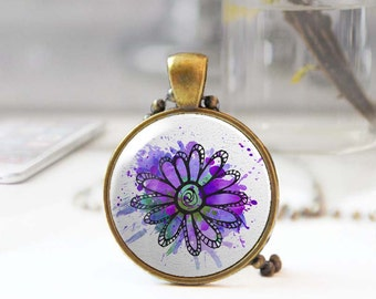 Feminine jewelry, Violet flower necklace, Long boho necklace, Floral pendant, Botanical jewelry, Round pendant necklace, 5093-10