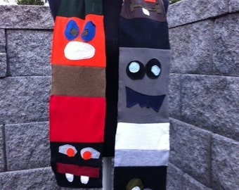 MONSTER FACES upcycle OOAK t shirt jersey scarf wrap by GmaJanisew