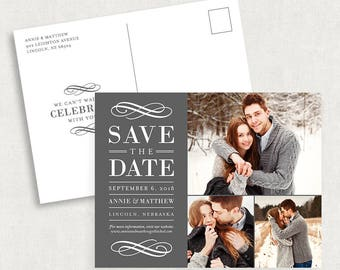 Photo Save the Date Postcards, Save the Date Postcards, Grey Save the Date Postcards, Printed Save the Date Postcards, Printable Postcards