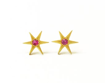 Ruby Gold Star Earrings, Real Gold earrings, Star of David, Gold Stud Earrings, Ruby Jewelry