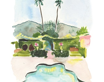 Framed Print of a Small Watercolor Palm Springs Pool Painting