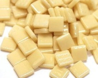 """12mm (1/2"""") Cream Ivory Pearlized Recycled Glass Mosaic Tiles//Mosaic Supplies//Craft Supplies"""