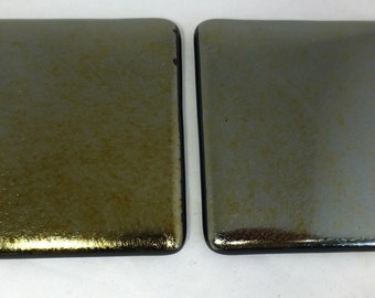 Fused Glass Coasters with Iridescent Black - set of 2