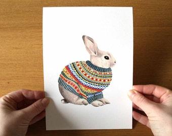 Bunny Print, Bunny Art, Bunny Gift, Rabbit Print, Rabbit Lover Gift, Animal Lover Gift, Nursery Wall Art, Bunny Lover Gift, Animal Art Print