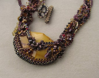 Free Form Peyote Necklace with Moukaite