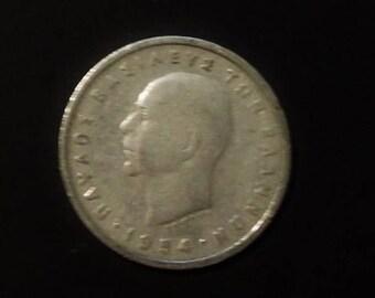 Coin Greece 5 Drachmai 1954 - vintage collectible Greek coin