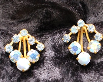 ACE # 107 Vintage Gold Tone Aurora Borealis Blue Crystal Clip On Earrings Marked Austria, Likely Swarovski ACE # 107