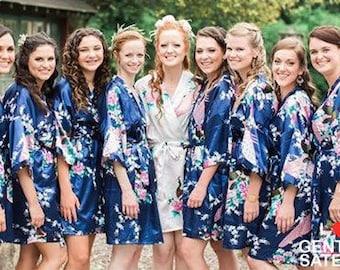 17 Colors, Bridesmaid Robes, Bridesmaid Gift, Satin Bridesmaids Robes, Floral Bridesmaid Robe, Kimono, Silk Bridesmaids Robes