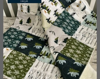 Woodland Bedding Set Boy, Organic Baby Quilt, Baby Bedding Set, Woodland Crib Set, Woodland Nursery Set, Mountain Baby, Show Me The Way