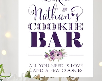 Cookie Bar Sign | Various Sizes | Add Your Names | Bella | Eggplant | I Create and You Print