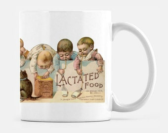 11 oz ceramic mug with old fashioned babies drinking Lactated Food. From 19th Century Trade Card. Free shipping in US.