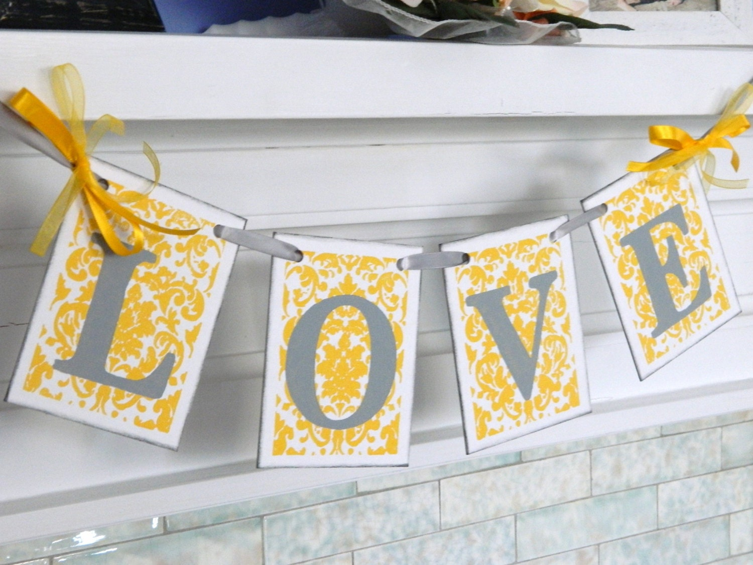 Gray and yellow love banner bridal shower decorations zoom junglespirit Image collections