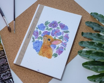 Lapin aquarelle carnet de notes à la main, couverture rigide journal, Illustration, carnet, carnet de croquis, journal intime, cadeau, 21 × 14.8