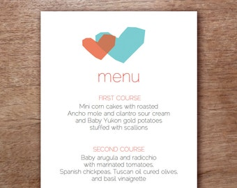 Blue and Red Hearts Wedding Menu Template - Instant Download - Printable Menu Template - Menu Template - Menu Cards - Printable Menu PDF