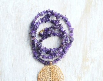 Bohemian Jewelry, Long Amethyst Necklace, Purple Stone Necklace, Gold Leaf Pendant, Gemstone Necklace