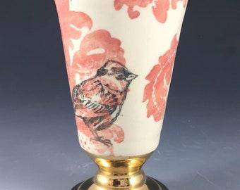Coral, Sage Damask Gold Pedestal Cup